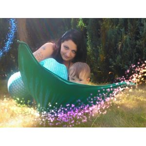 Mermaid mother and baby