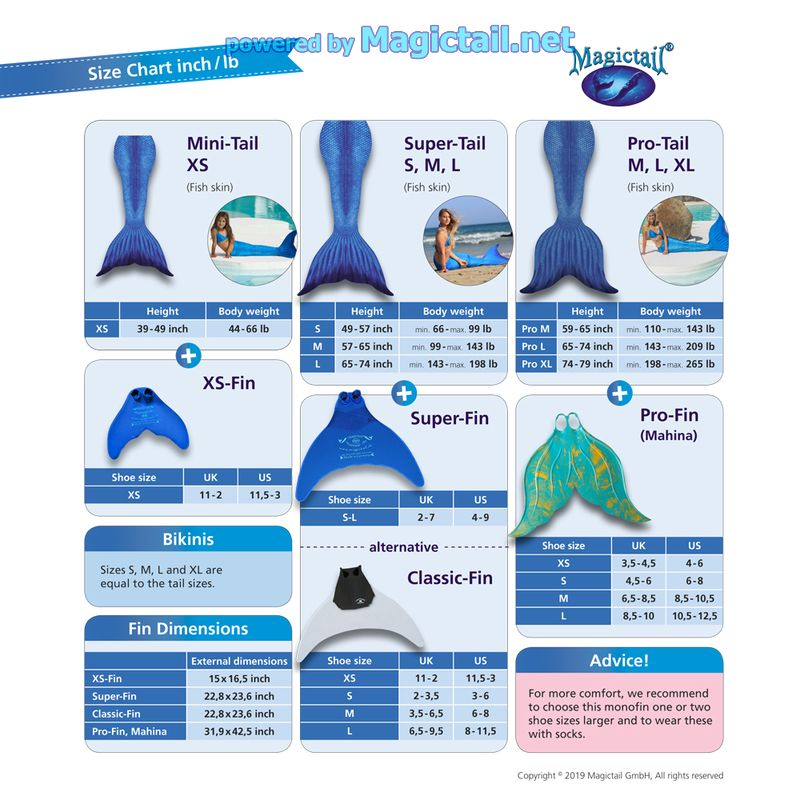 Mermaid tails size chart in,lb